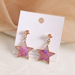 Five point star earrings